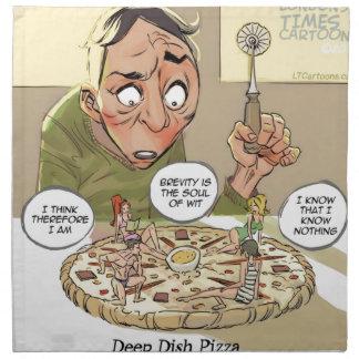 Filosófico divertido de la pizza profunda del servilleta imprimida