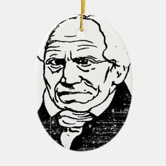 Filósofo alemán Arthur Schopenhauer de Felix Adorno Navideño Ovalado De Cerámica
