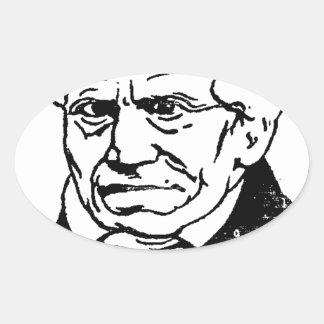 Filósofo alemán Arthur Schopenhauer de Felix Pegatina Ovalada
