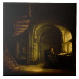 Filósofo con un libro abierto, 1625-7 (aceite en e azulejo cuadrado grande