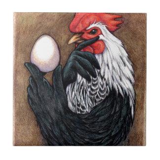 Filósofo del pollo del dibujo del huevo del gallo azulejo cuadrado pequeño