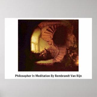 Filósofo en la meditación de Rembrandt Van Rijn Impresiones