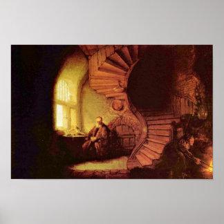 Filósofo en la meditación Por Rembrandt Van Rijn Posters