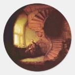 Filósofo en la meditación. Por Rembrandt Van Rijn Etiqueta Redonda