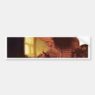Filósofo en la meditación. Por Rembrandt Van Rijn Pegatina Para Auto