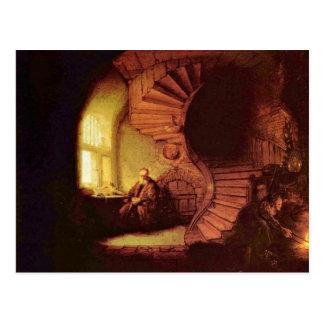 Filósofo en la meditación. Por Rembrandt Van Rijn Tarjetas Postales