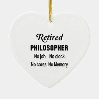 Filósofo jubilado ningún trabajo ningún reloj adorno navideño de cerámica en forma de corazón