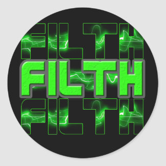 FILTH Music Dubstep Electro Rave Bass DJ FILTH Classic Round Sticker