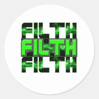 FILTH Music Dubstep Electro Rave Bass DJ FILTH Classic Round Sticker