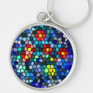 Filtrar-vidrio floral llavero redondo plateado