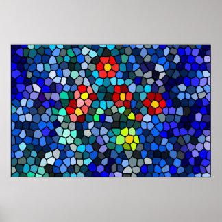Filtrar-vidrio floral póster