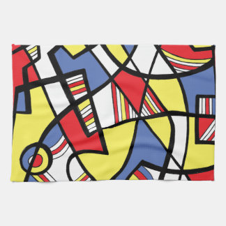 Fimbrez Abstract Expression Yellow Red Blue Kitchen Towel