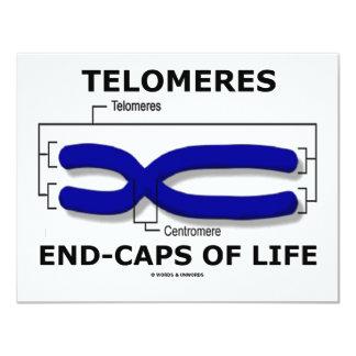 """Fin-Casquillos de Telomeres de la vida (humor de Invitación 4.25"""" X 5.5"""""""