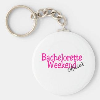 Fin de semana de Bachelorette (funcionario/rosa) Llavero Redondo Tipo Pin