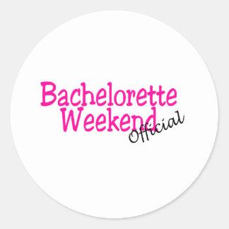 Fin de semana de Bachelorette (funcionario/rosa) Pegatinas Redondas