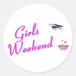 Fin de semana de los chicas (cara) pegatina redonda