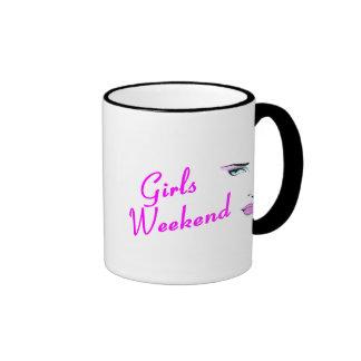 Fin de semana de los chicas (cara) taza de dos colores