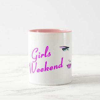 Fin de semana de los chicas (cara) taza de dos tonos