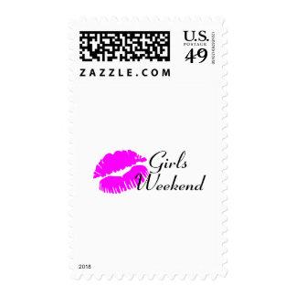 Fin de semana de los chicas (labios rosados) sello