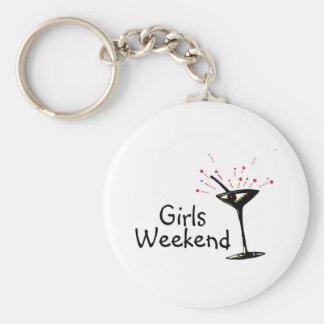 Fin de semana de los chicas llavero redondo tipo pin