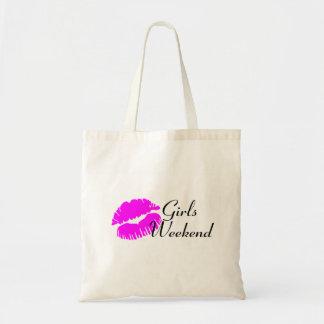 Fin de semana de los chicas (negro del beso) bolsa tela barata