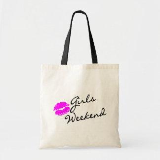 Fin de semana de los chicas (negro del beso) bolsa de mano