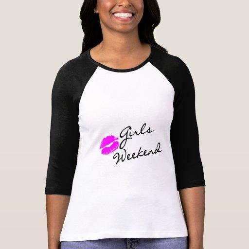 Fin de semana de los chicas (negro del beso) camiseta