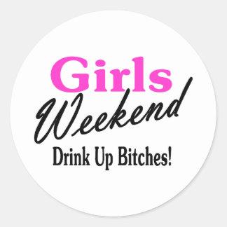 Fin de semana de los chicas pegatina redonda