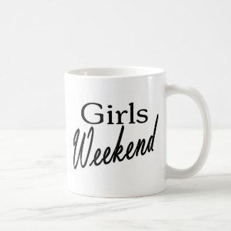 Fin de semana de los chicas taza de café