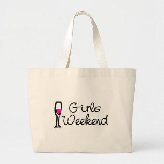 Fin de semana de los chicas (vino) bolsa tela grande