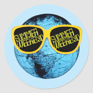 Fin de semana del verano - gráfico del promo pegatina redonda