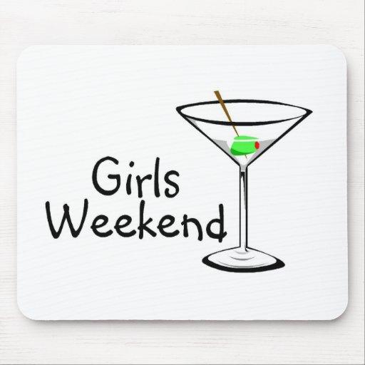 Fin de semana Martini de los chicas Alfombrillas De Ratón