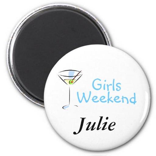Fin de semana Martini de los chicas Imán Redondo 5 Cm