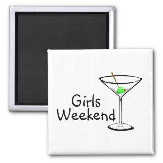 Fin de semana Martini de los chicas Imán Cuadrado