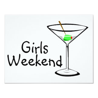 """Fin de semana Martini de los chicas Invitación 4.25"""" X 5.5"""""""