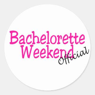 Fin de semana oficial de Bachelorette Pegatina Redonda