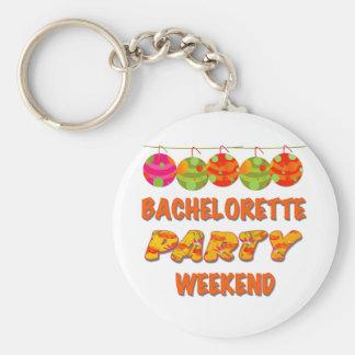 Fin de semana tropical del fiesta de Bachelorette Llavero Redondo Tipo Pin