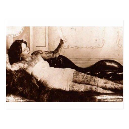 Fin de Siecle tattooed woman Post Card