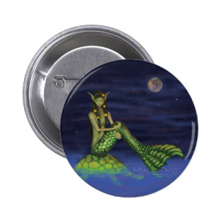 Fin Dipping Mermaid on Turtle Back Pinback Buttons
