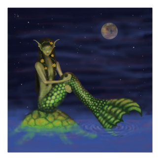 Fin Dipping Mermaid on Turtle Back Poster