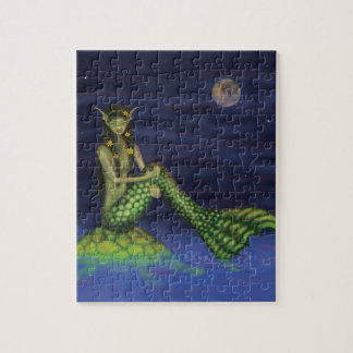 Fin Dipping Mermaid on Turtle Back Jigsaw Puzzles