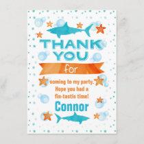 Fin-tastic Shark Birthday Thank You Card