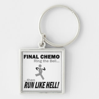 Final Chemo Run Like Hell - Brain Cancer / Tumor Silver-Colored Square Keychain