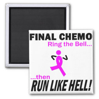 Final Chemo Run Like Hell - Breast Cancer 2 Inch Square Magnet