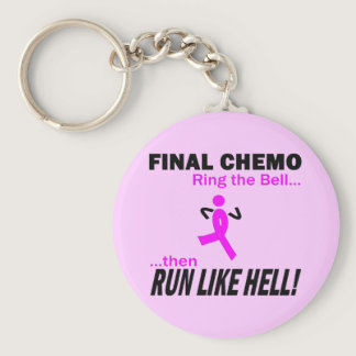 Final Chemo Run Like Hell - Breast Cancer Keychain