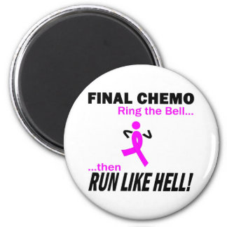 Final Chemo Run Like Hell - Breast Cancer 2 Inch Round Magnet