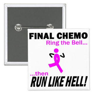 Final Chemo Run Like Hell - Breast Cancer Pinback Button