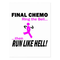 Final Chemo Run Like Hell - Breast Cancer Postcard