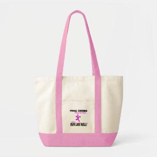 Final Chemo Run Like Hell - Breast Cancer Tote Bag