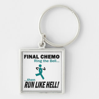 Final Chemo Run Like Hell - Cervical Cancer Silver-Colored Square Keychain